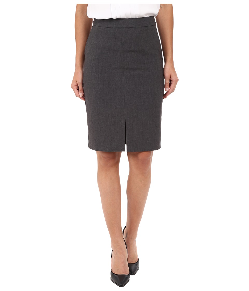 kensie Heather Stretch Crepe Pencil Skirt KS2K6226 Heather Dark Grey Womens Skirt