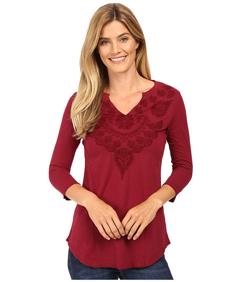 Mod-o-doc - Classic Jersey Embroidered Split-Neck Tee (Chianti) Women's T Shirt