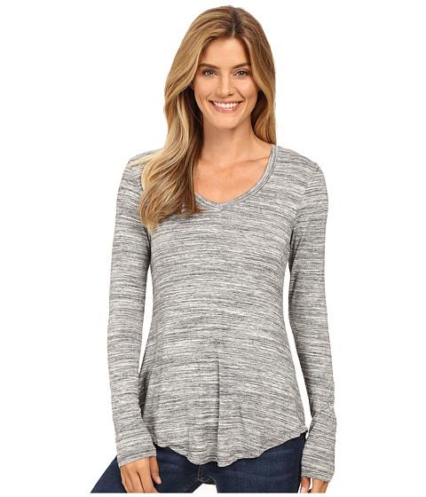 Mod-o-doc - Space Dye Rayon Spandex Jersey Back Knot Long Sleeve Tee (Charcoal Heathe) Women's T Shirt