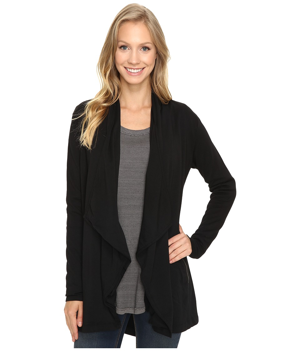 Mod-o-doc Cotton Spandex French Terry Cardigan (Black) Women