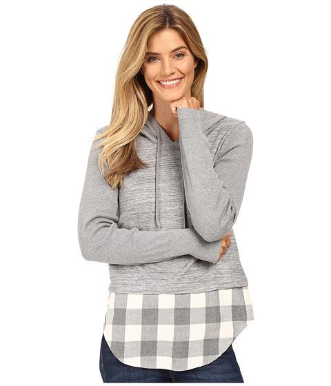 Mod-o-doc Heavenly Jersey Pullover Hoodie w/ Contrast Flannel Hem - Grey