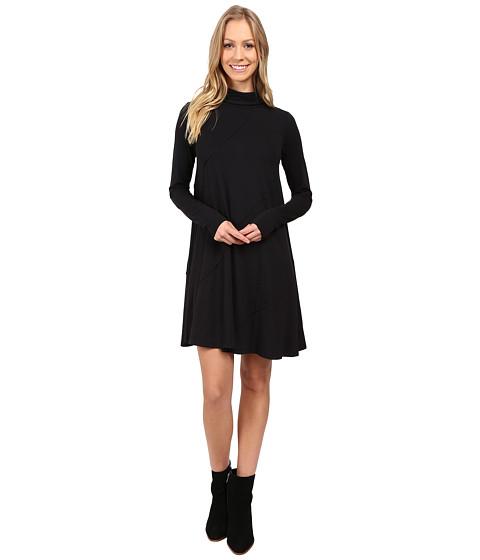 Mod-o-doc Cotton Modal Spandex Jersey Seamed Funnel Neck Swing Dress - Black