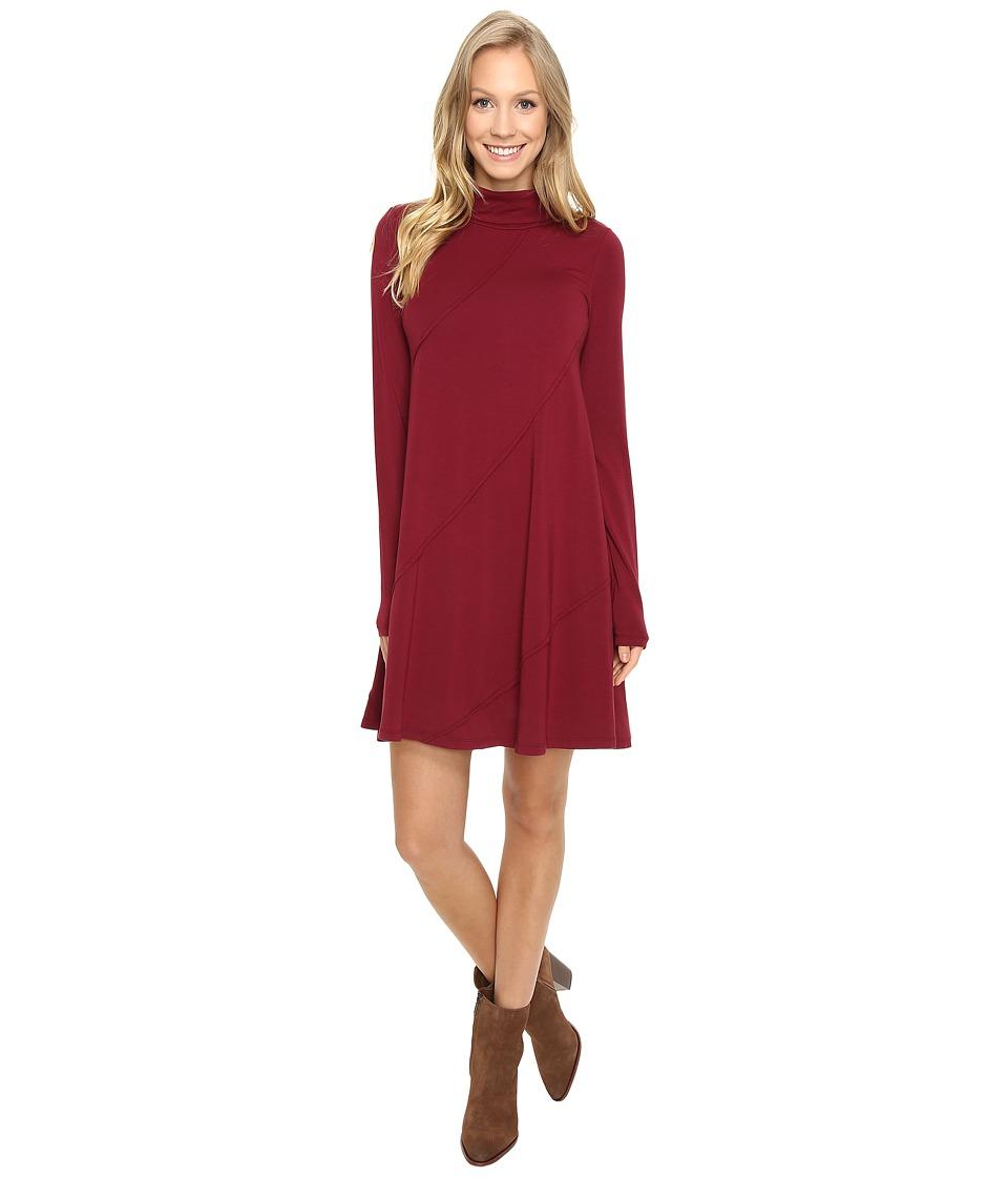 Mod-o-doc Cotton Modal Spandex Jersey Seamed Funnel Neck Swing Dress (Chianti) Women