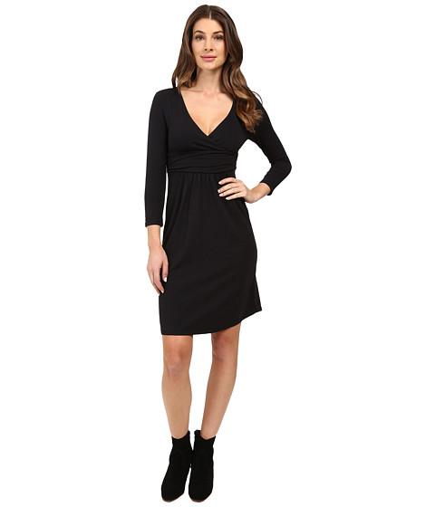 Mod-o-doc - Cotton Modal Spandex Jersey Surplice Banded Empire Dress (Black) Women's Dress
