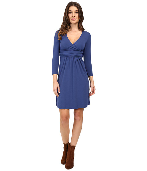 Mod-o-doc - Cotton Modal Spandex Jersey Surplice Banded Empire Dress (Bluestone) Women's Dress