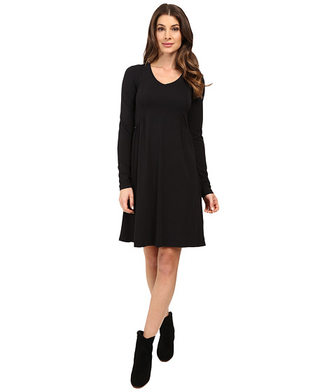 Mod-o-doc - Cotton Modal Spandex Jersey Princess Shirred V-Neck Dress (Black) Women's Dress