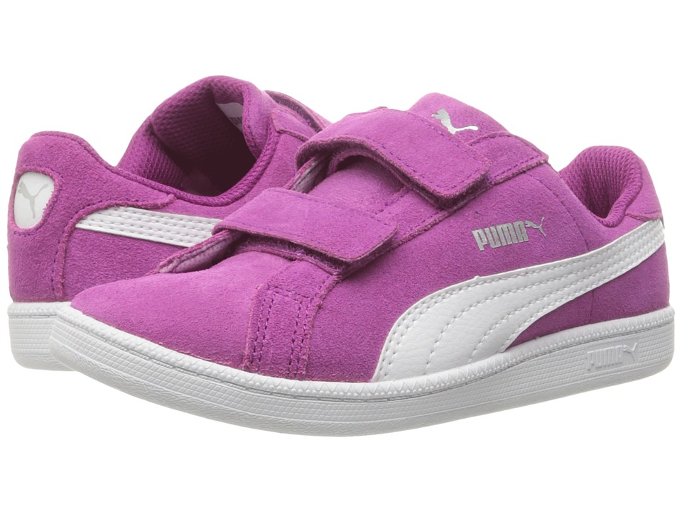 Puma Kids - Smash Fun Suede (Little Kid/Big Kid) (Hollyhock/Puma White) Girls Shoes