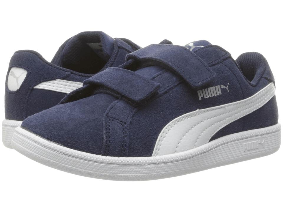 Puma Kids Smash Fun Suede (Little Kid/Big Kid) (Peacoat/Puma White) Boys Shoes
