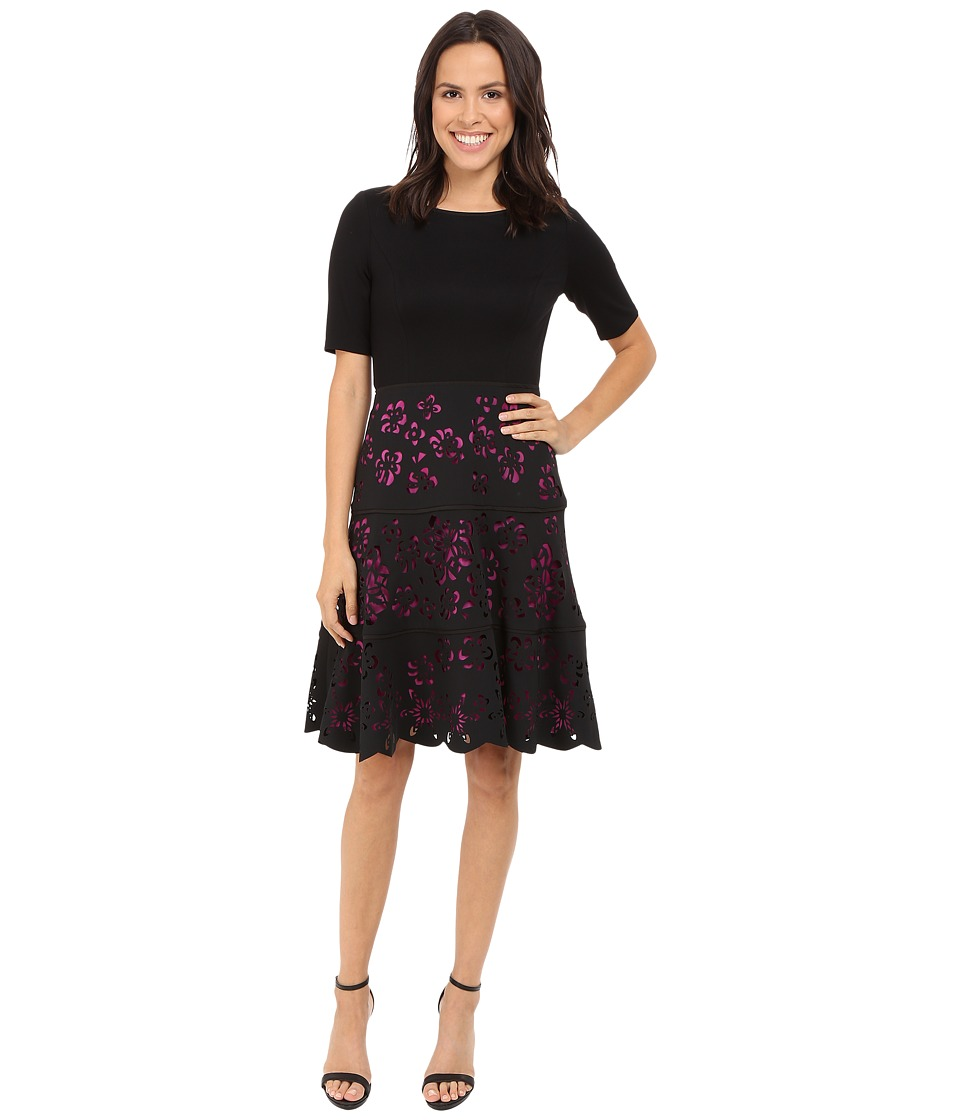 NUE by Shani Knit Bodice Dress w/ Laser Cutting Fit and Flare Skirt Black/Fuchsia Womens Dress