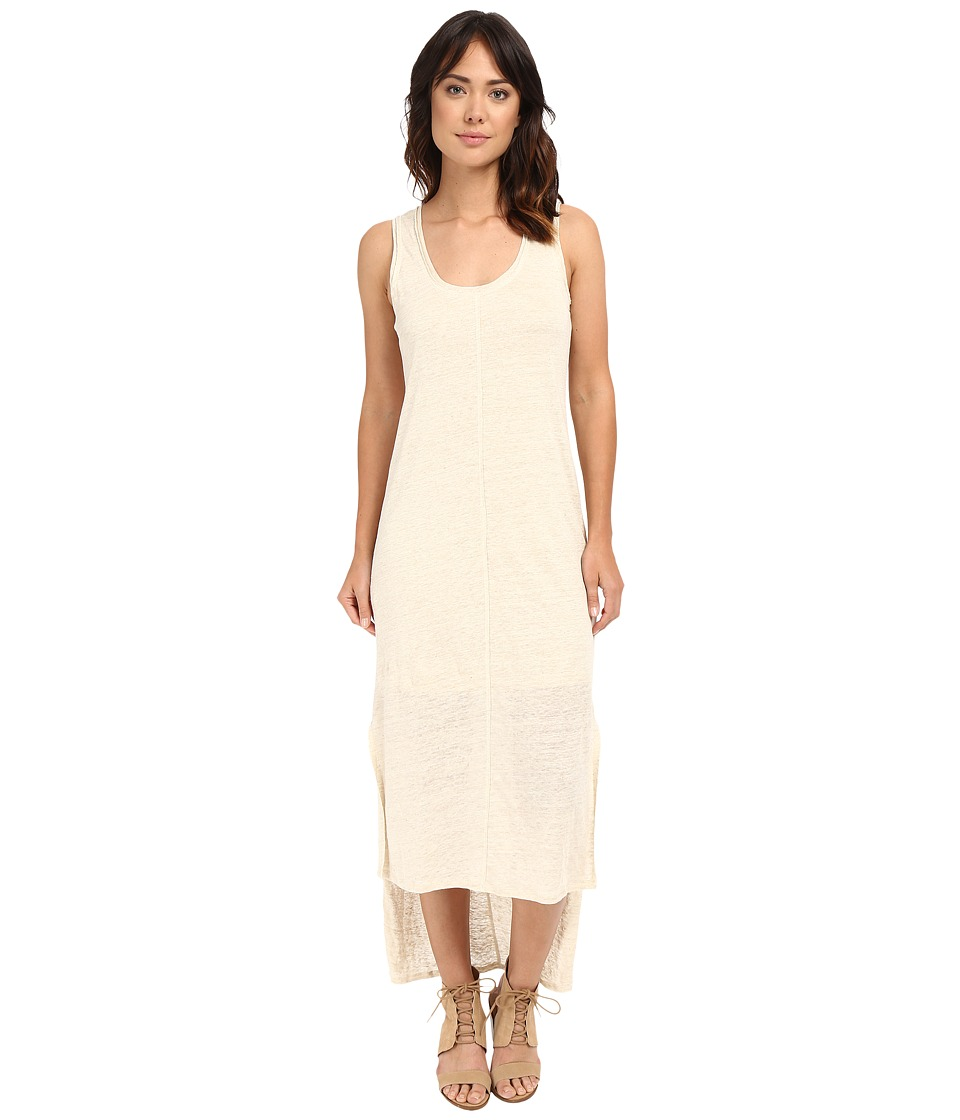 HEATHER Linen High Low Tank Dress Heather Tan Womens Dress