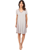 HEATHER - Stripe Cotton & Gauze Panel Tee Dress