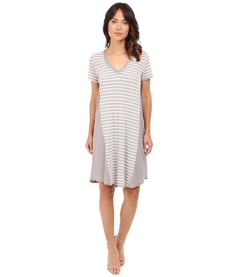 HEATHER Stripe Cotton & Gauze Panel Tee Dress
