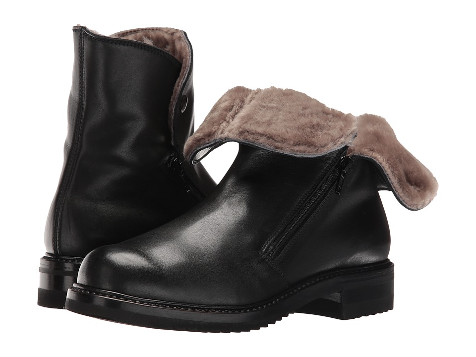 Gravati Double Zip Ankle Boot With Shearling Lining (Butter Calf Black) Women