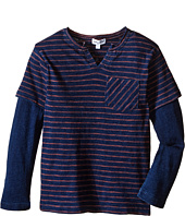 Splendid Littles - Indigo Twofer Crew with Raw Edge Neck (Little Kids/Big Kids)