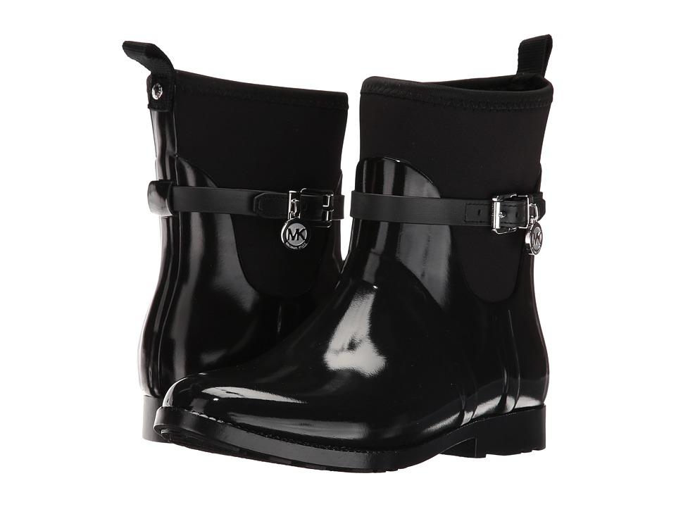 MICHAEL Michael Kors Charm Stretch Short Rainboot (Black Rubber/Neoprene/Vachetta) Women