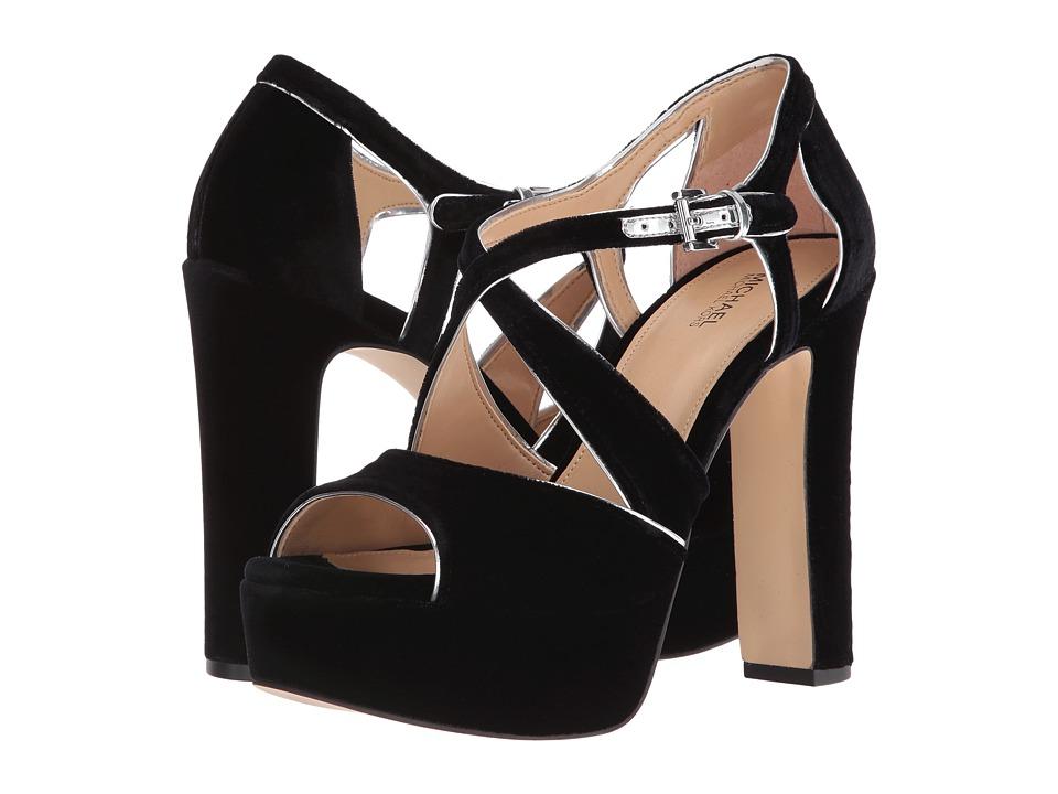 MICHAEL Michael Kors Harlen Platform (Black Velvet/Mirror Metallic) High Heels