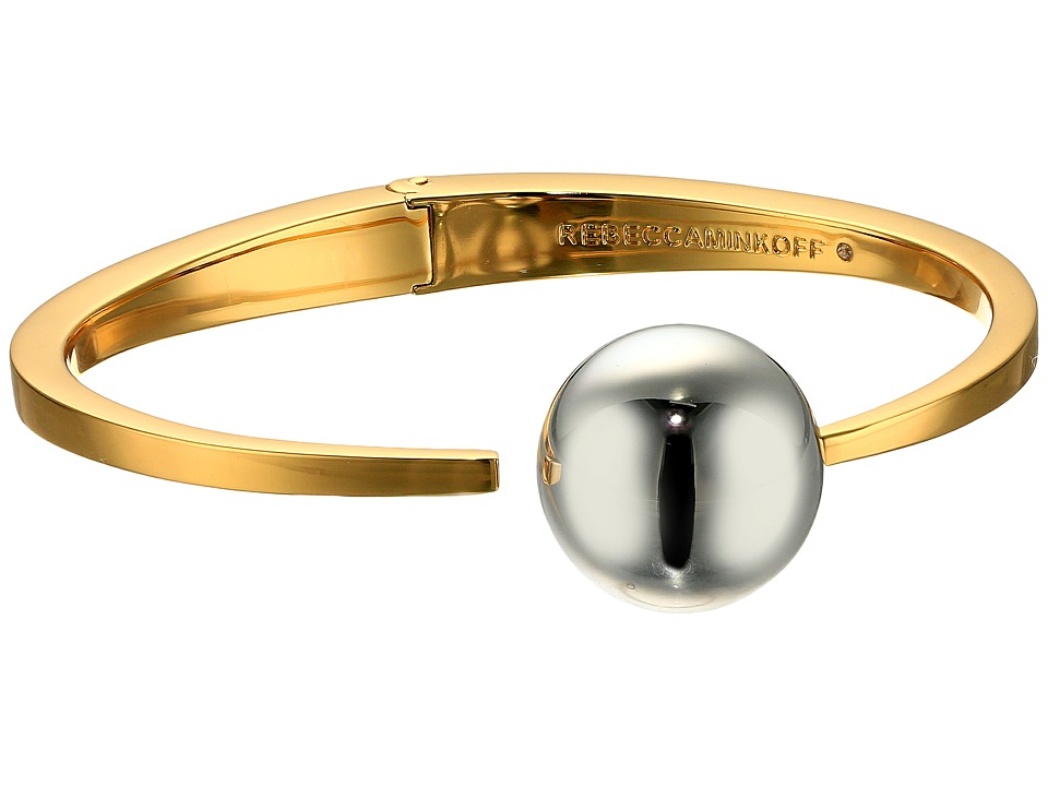 Rebecca Minkoff Two Tone Bead Hinge Bangle Bracelet Gold/Rhodium Bracelet