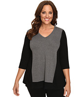 Karen Kane Plus - Plus Size Color Block Sweater Knit Top