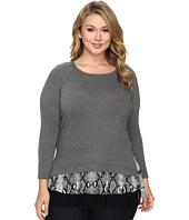 Karen Kane Plus - Plus Size Snake Print Inset Sweater Top