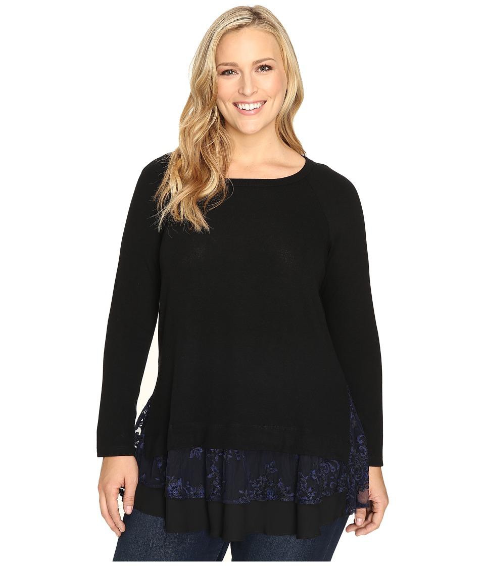 Karen Kane Plus - Plus Size Lace Inset Sweater (Black/Navy) Women