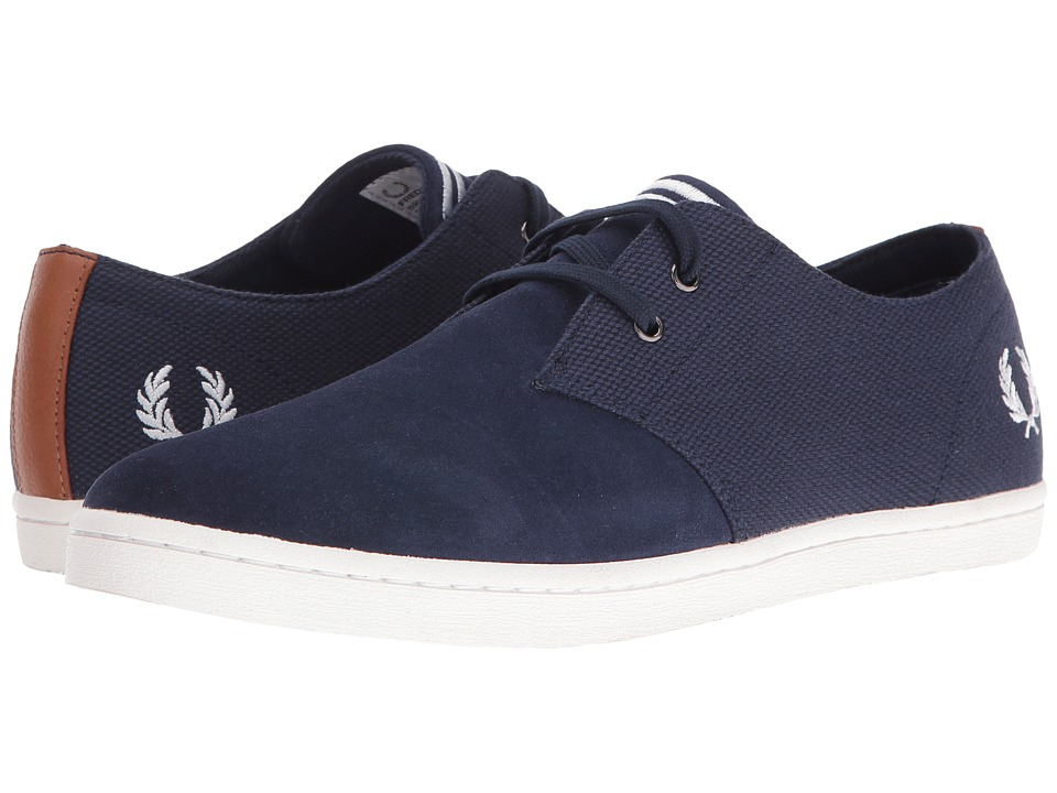 Fred Perry Byron Low Twill Woven Canvas (Carbon Blue/Snow White) Men