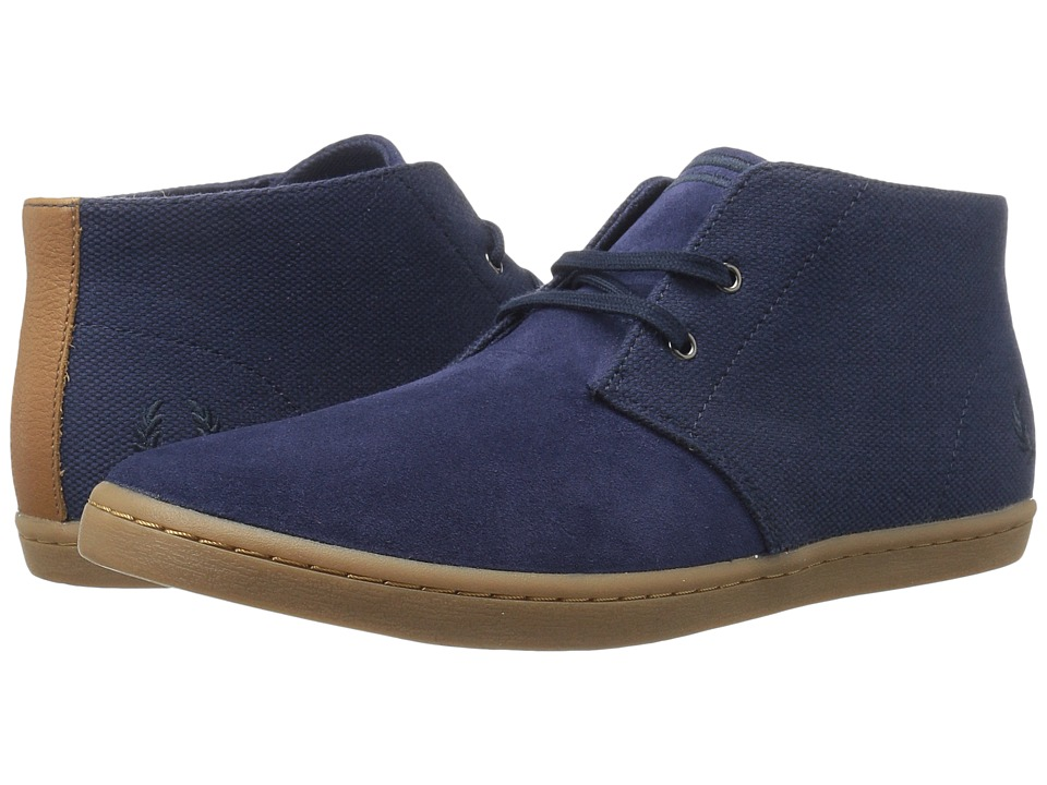 Fred Perry Byron Mid Suede Woven Canvas (Carbon Blue/Navy) Men