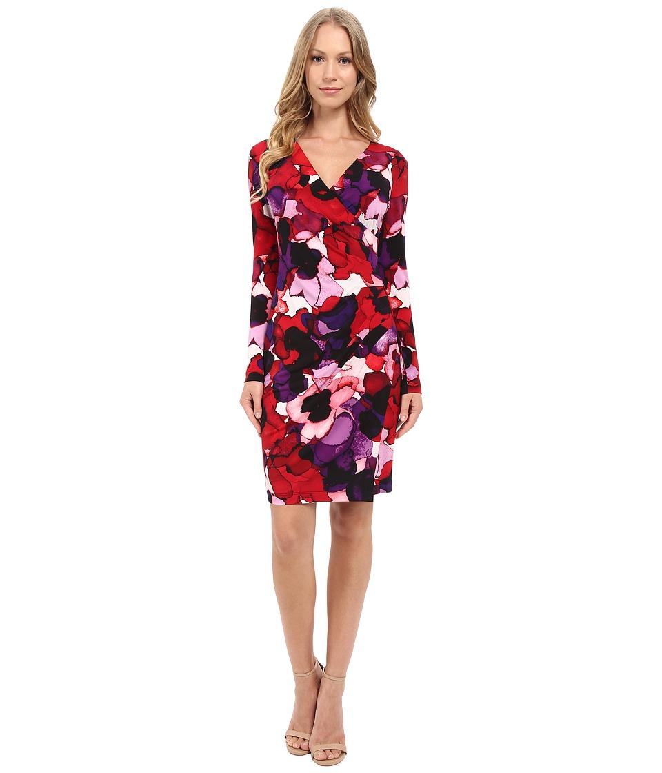 Calvin Klein Long Sleeve Printed Dress CD5ACR5N Red Multi Womens Dress