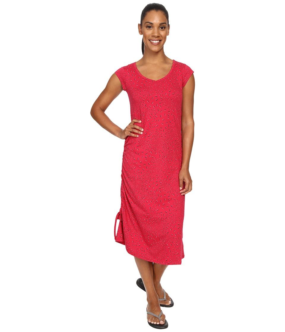 ToadampCo Muse Dress Cerise Leaf Print Womens Dress