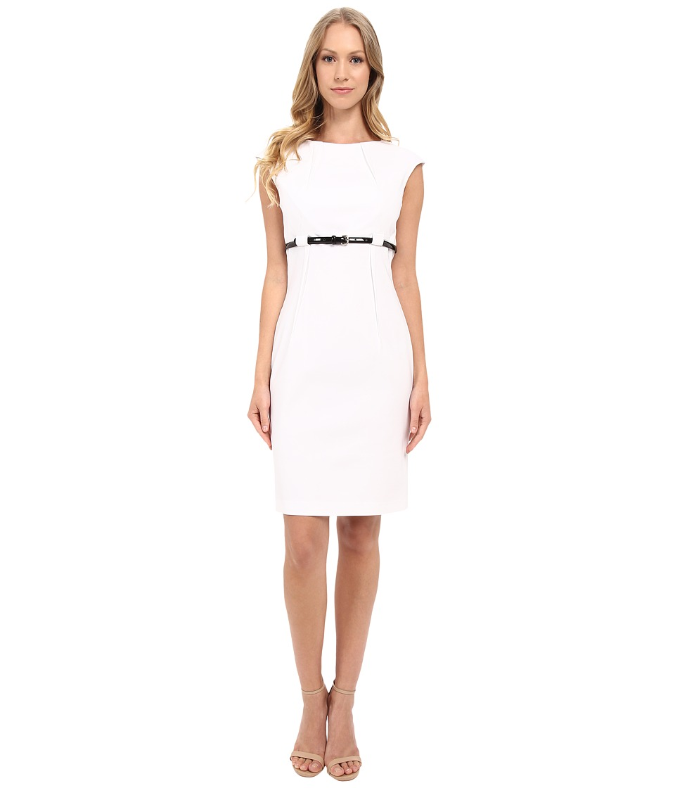 Calvin Klein Cap Sleeve Empire Waist Sheath Dress CD5G1BD6 White Womens Dress