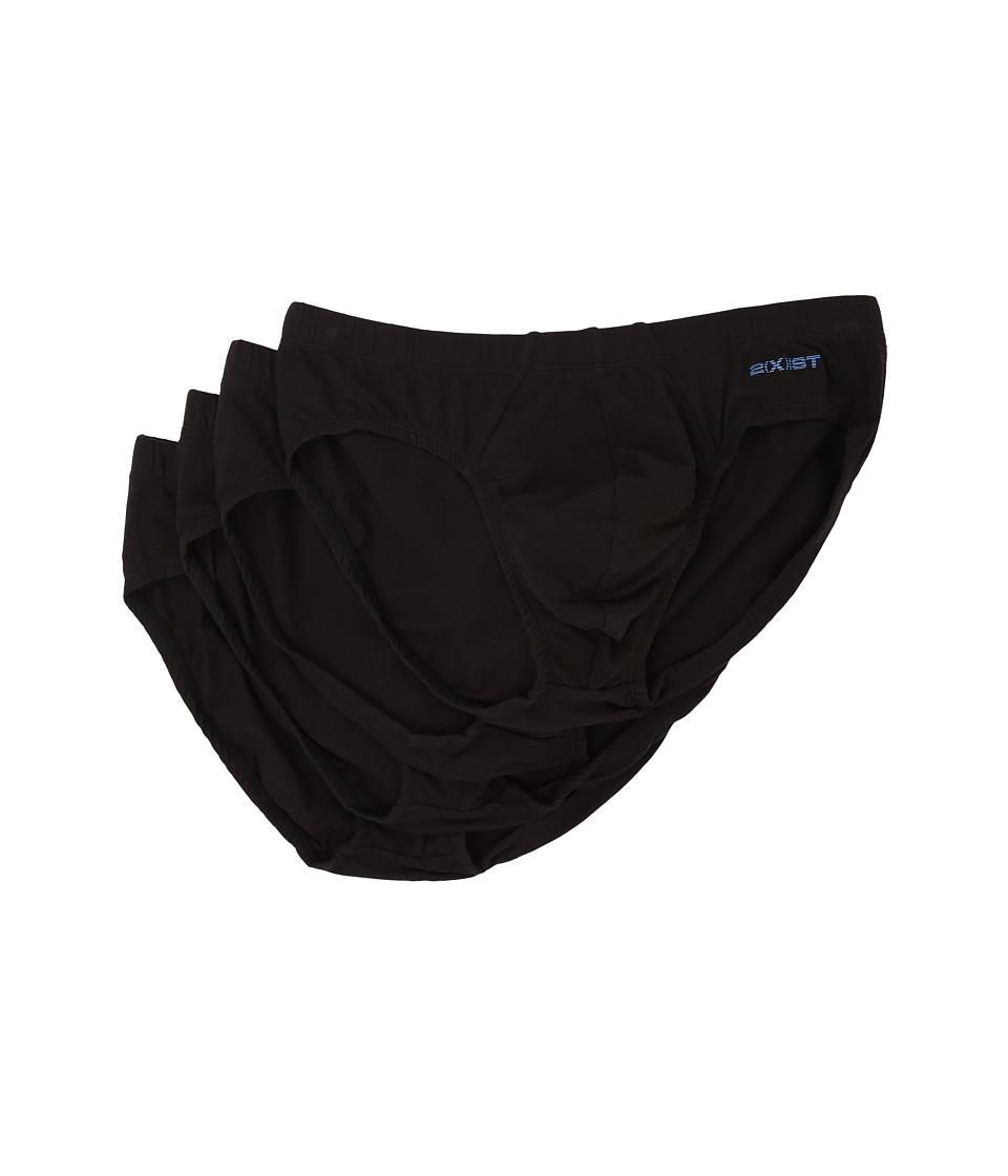 2(x)ist Stretch 4-Pack Bikini Briefs (Black) Men's Underwear