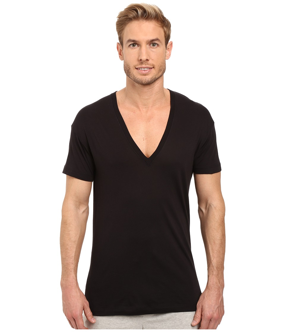2(X)IST - Pima Slim Fit Deep V-Neck T-Shirt (Black) Mens T Shirt