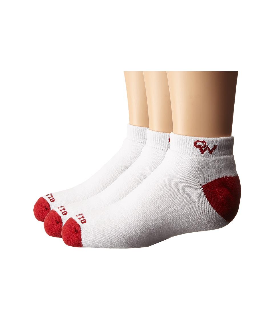 Old West Boots - 3-Pack Anklet Socks (Toddler/Little Kid/Big Kid) (White/Red Toe) Crew Cut Socks Shoes
