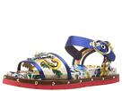 Dolce & Gabbana - Maolica Ceramic Print Mesh and Satin Sandal (Bouquet Blue/Maolica)