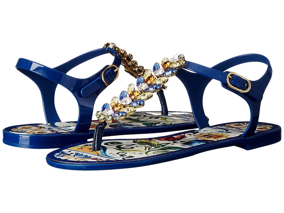 Dolce & Gabbana Maiolica Ceramic Print Jelly Sandal (Blue Maiolica) Women