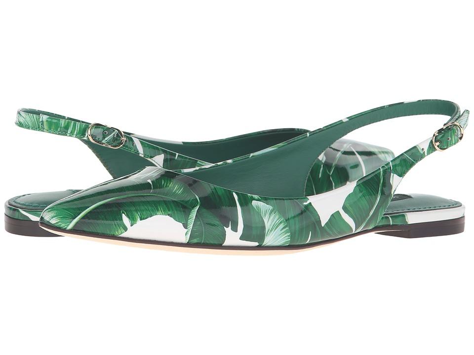 Dolce & Gabbana Banana Leaf Print Patent Flat Slingback (Foglie Banano Fondo Bianco) Women