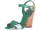 Dolce & Gabbana - Banana Leaf Print Satin Sandal with Midollino Wedge Heel (Foglie Banano Fondo Bianco)