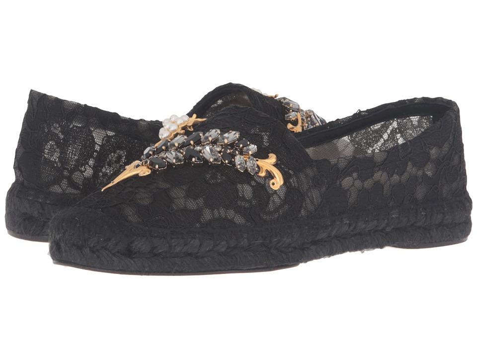 Dolce & Gabbana Lace Espadrille with Botanical Garden Jewel Embellishment (Black) Women