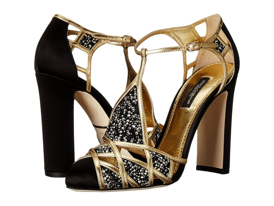Dolce  +  Gabbana - Embellished Caged Toe Sandal (Black/Gold) Women's Dress Sandals