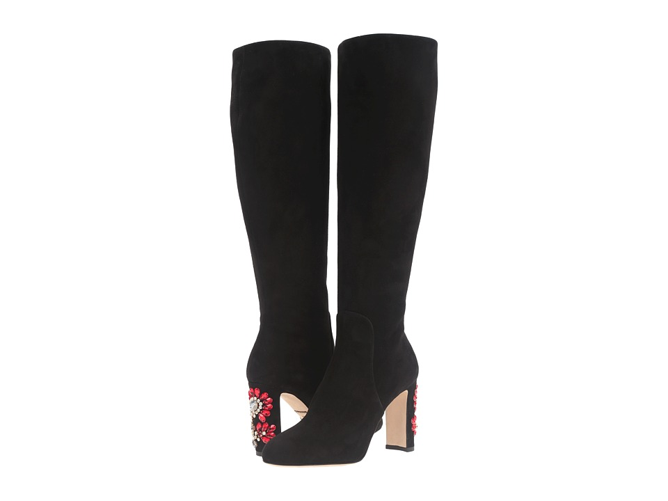 Dolce & Gabbana - Suede Knee Boot with Jewel Embellished Heel (Black) Women