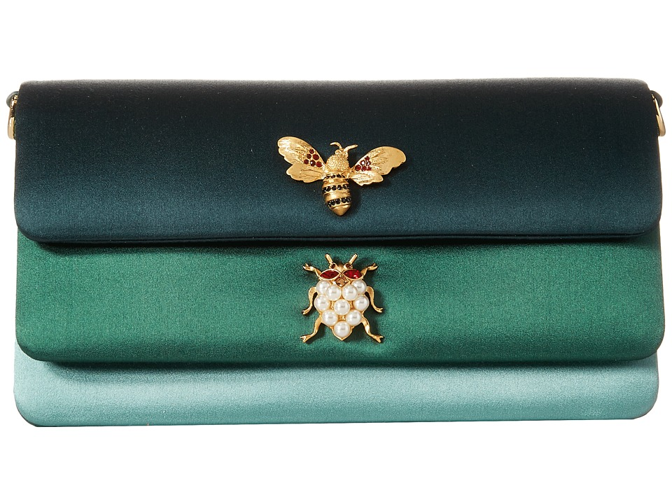 Dolce & Gabbana - Satin Double Flap Evening Bag (Carta Zucchero/Verde) Bags