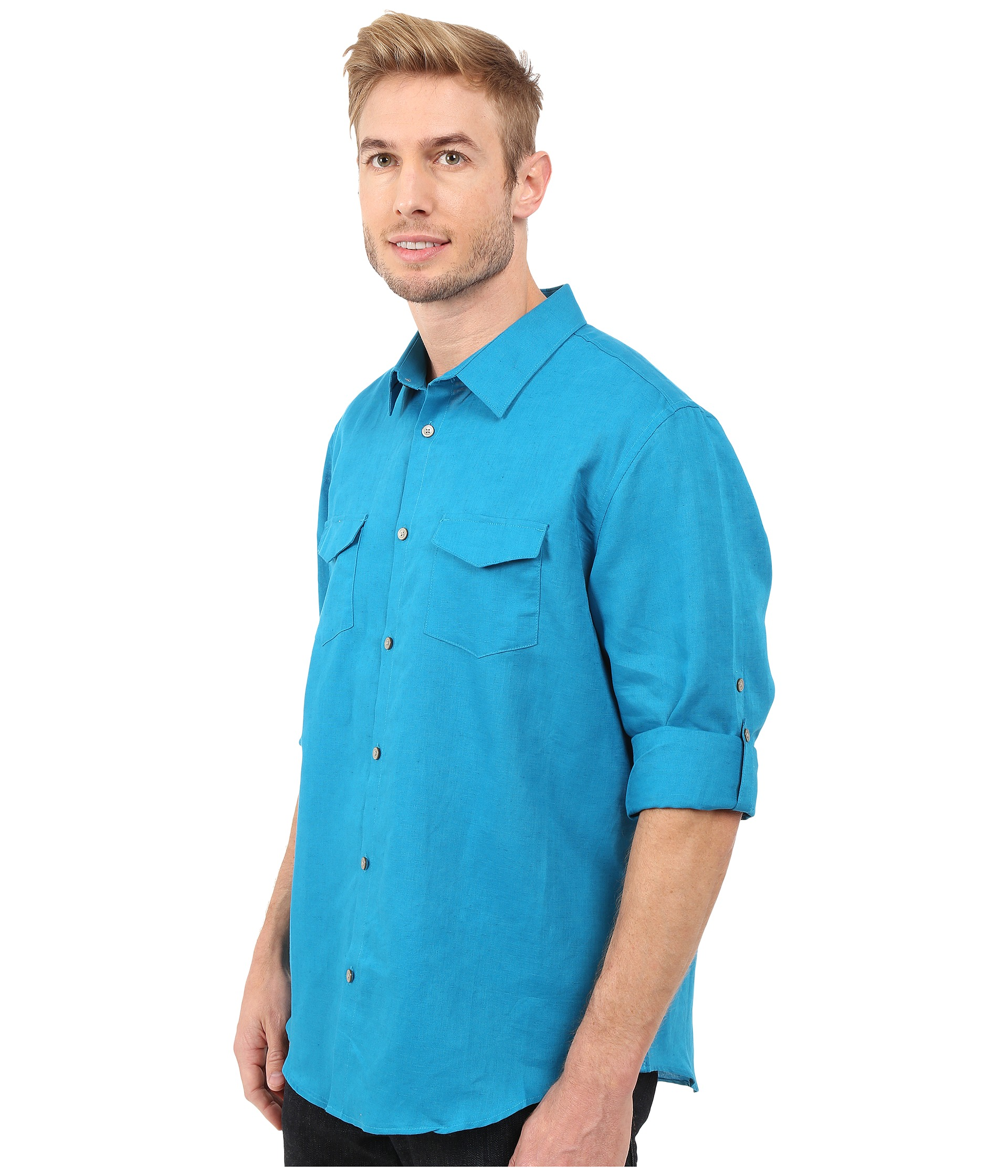 Calvin klein classic fit linen roll up sleeve shirt for Calvin klein full sleeve t shirt