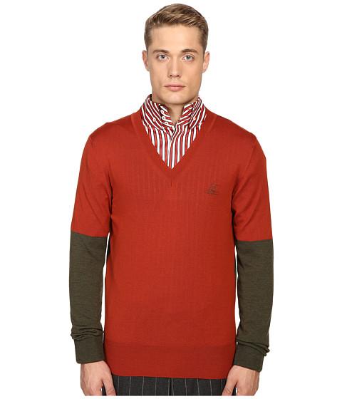 Vivienne Westwood Block Classic V-Neck Sweater - Green/Orange