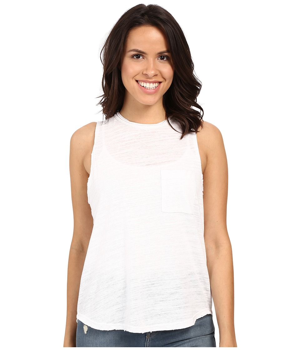 LNA Mock Neck Muscle Tank Top White Womens Sleeveless