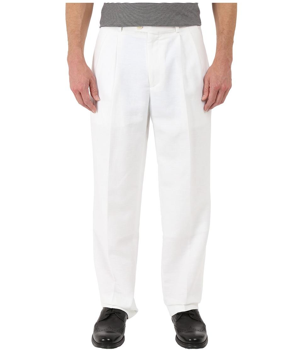 Perry Ellis Portfolio Classic Fit Double Pleat Linen Portfolio Pant Bright White Mens Dress Pants