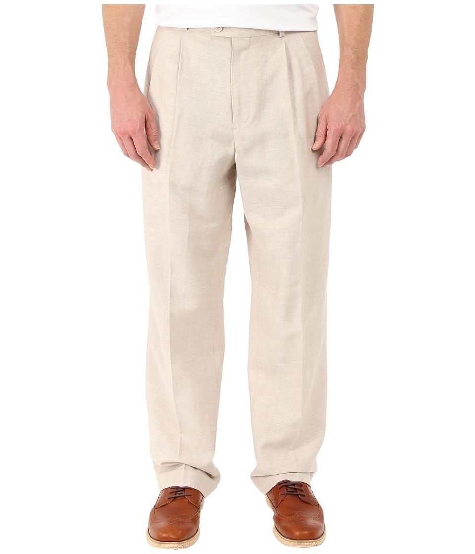 Perry Ellis Portfolio Classic Fit Double Pleat Linen Portfolio Pant Natural Linen Mens Dress Pants