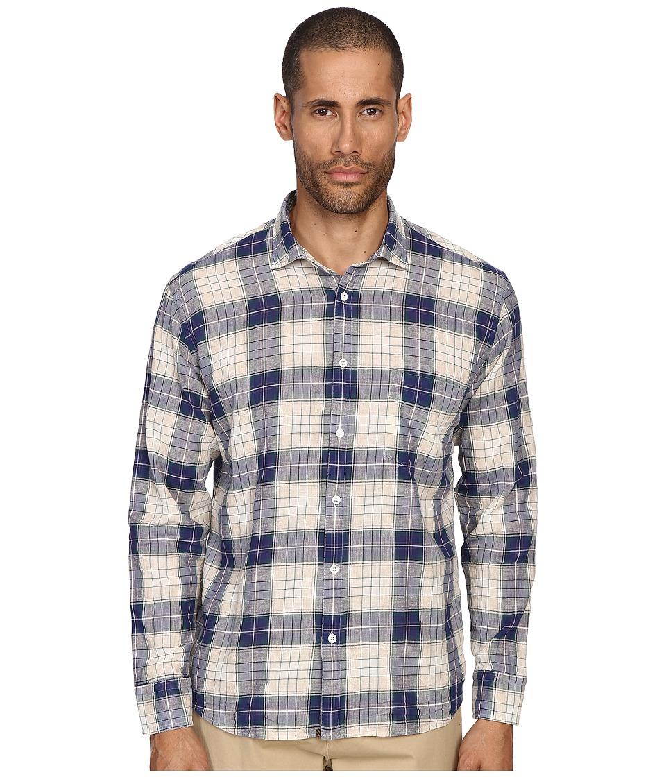 Billy Reid John T Shirt Button Up Blue/Natural Mens Long Sleeve Button Up