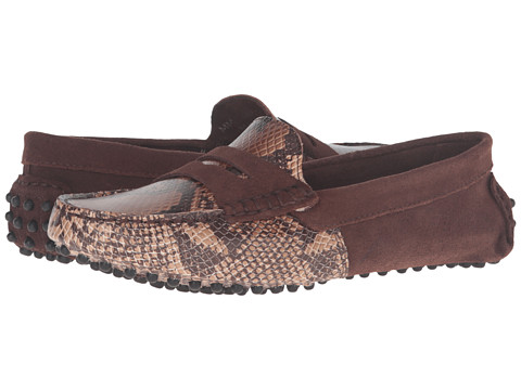 Massimo Matteo Snake & Suede Penny - Brown