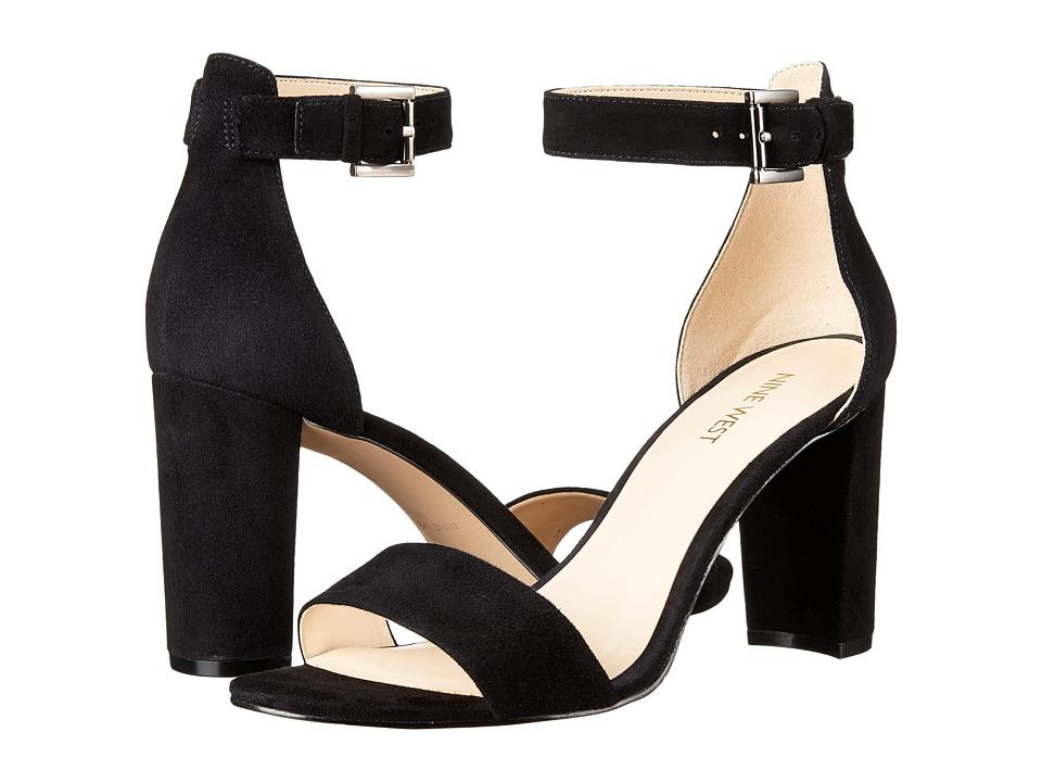 Nine West Nora Block Heel Sandal (Black Suede) Women