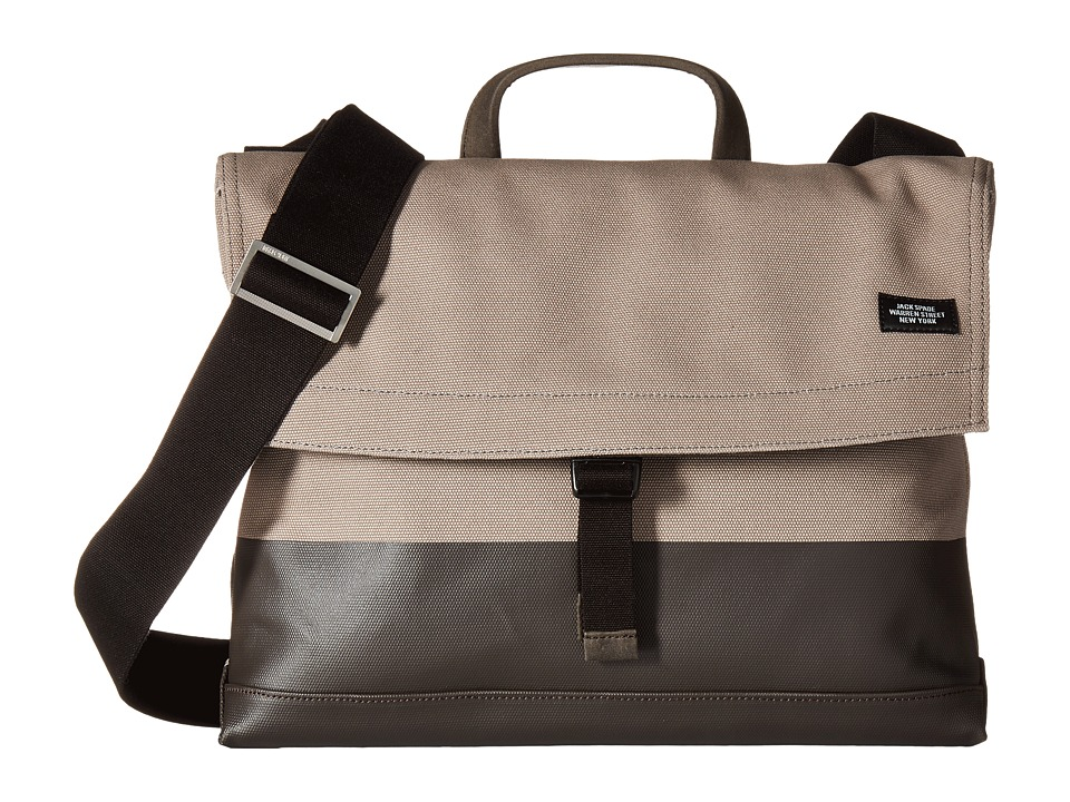 Jack Spade - Dipped Industrial Canvas Folded Messenger (Granite/Brown) Messenger Bags
