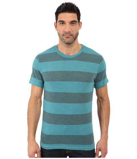 Alternative Eco Crew T-Shirt - Aqua Teal Weathered Stripe